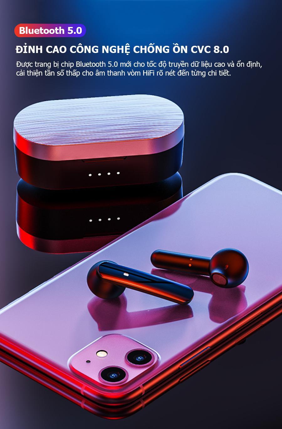 Tai nghe Bluetooth nhét tai 5.0 Phiên bản mới pin trâu 12h chuẩn TWS
