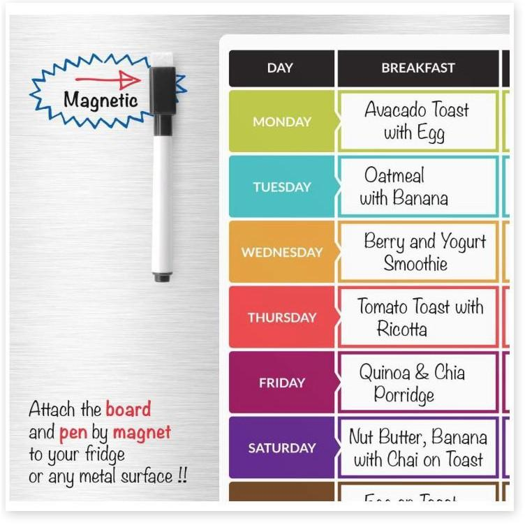 Bảng nam châm tủ lạnh Weekly Food kèm bút + tẩy