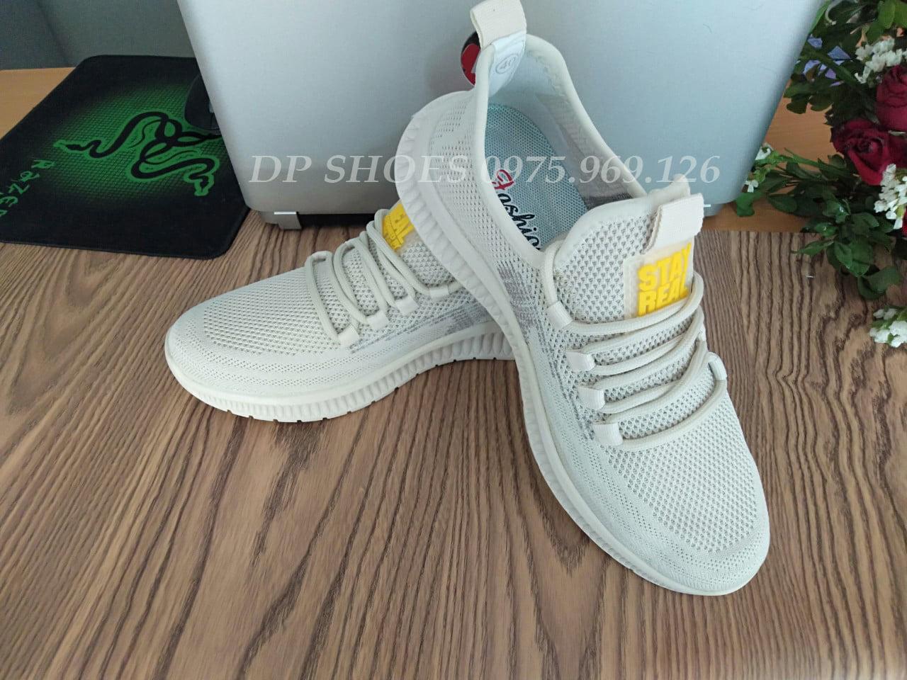 Xả giày thể thao nam màu sữa - giầy sneaker mẫu mới bền đẹp