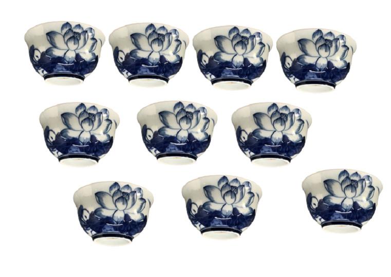 Bộ 10 bát cơm cúng thắp hương họa tiết hoa sen xanh ngọc - đồ thờ - AN13184