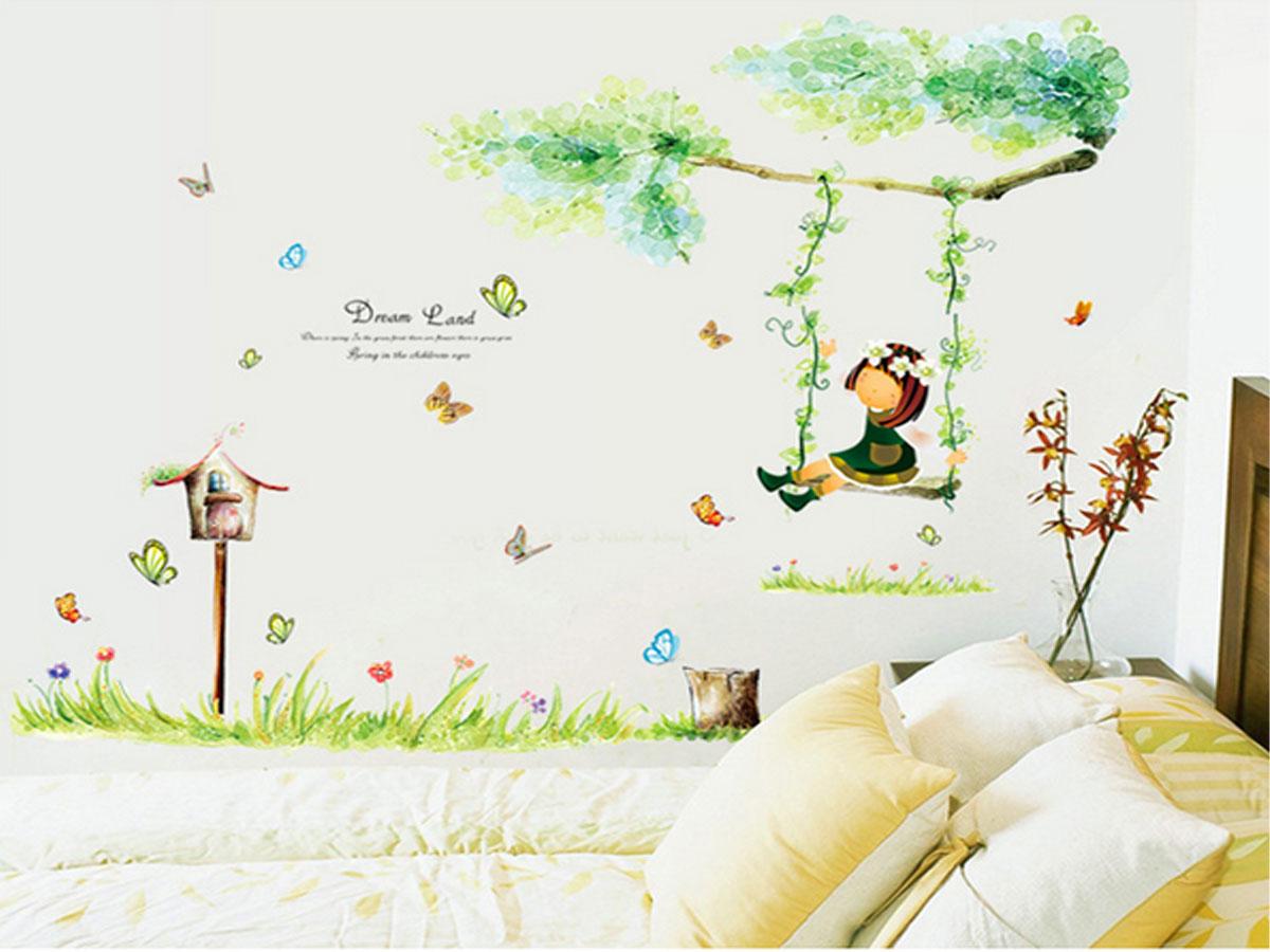 decal dán tường bé ngồi xích đu tán cây xanh ay9194