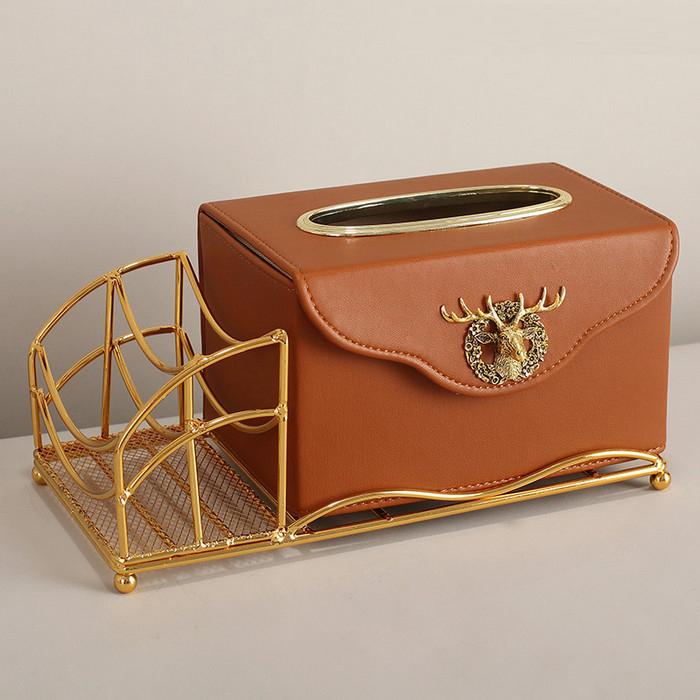 Decor- hộp khăn giấy cao cấp nâu có khung hợp kim vàng
