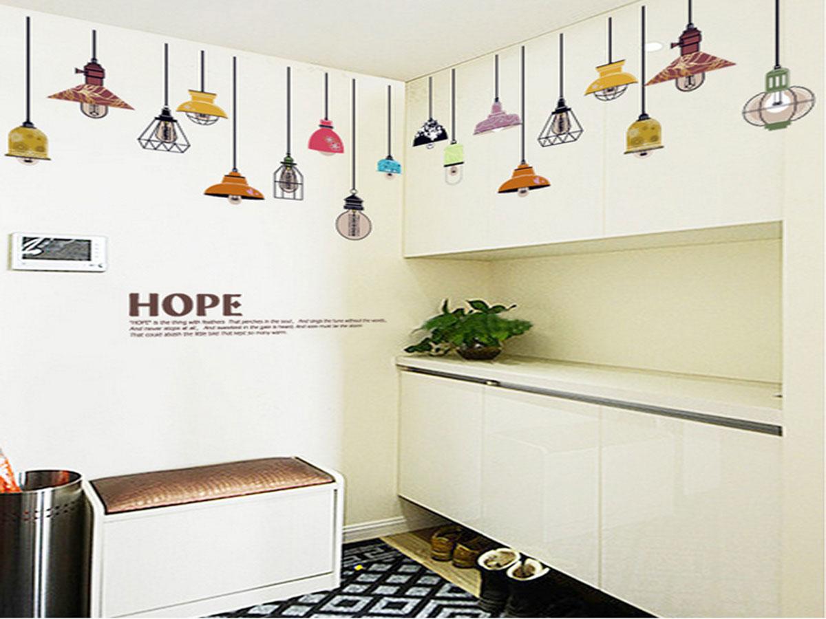 Decal dán tường trang trí quán cafe, phòng khách- Dây đèn treo chữ hope- mã sp SK9144