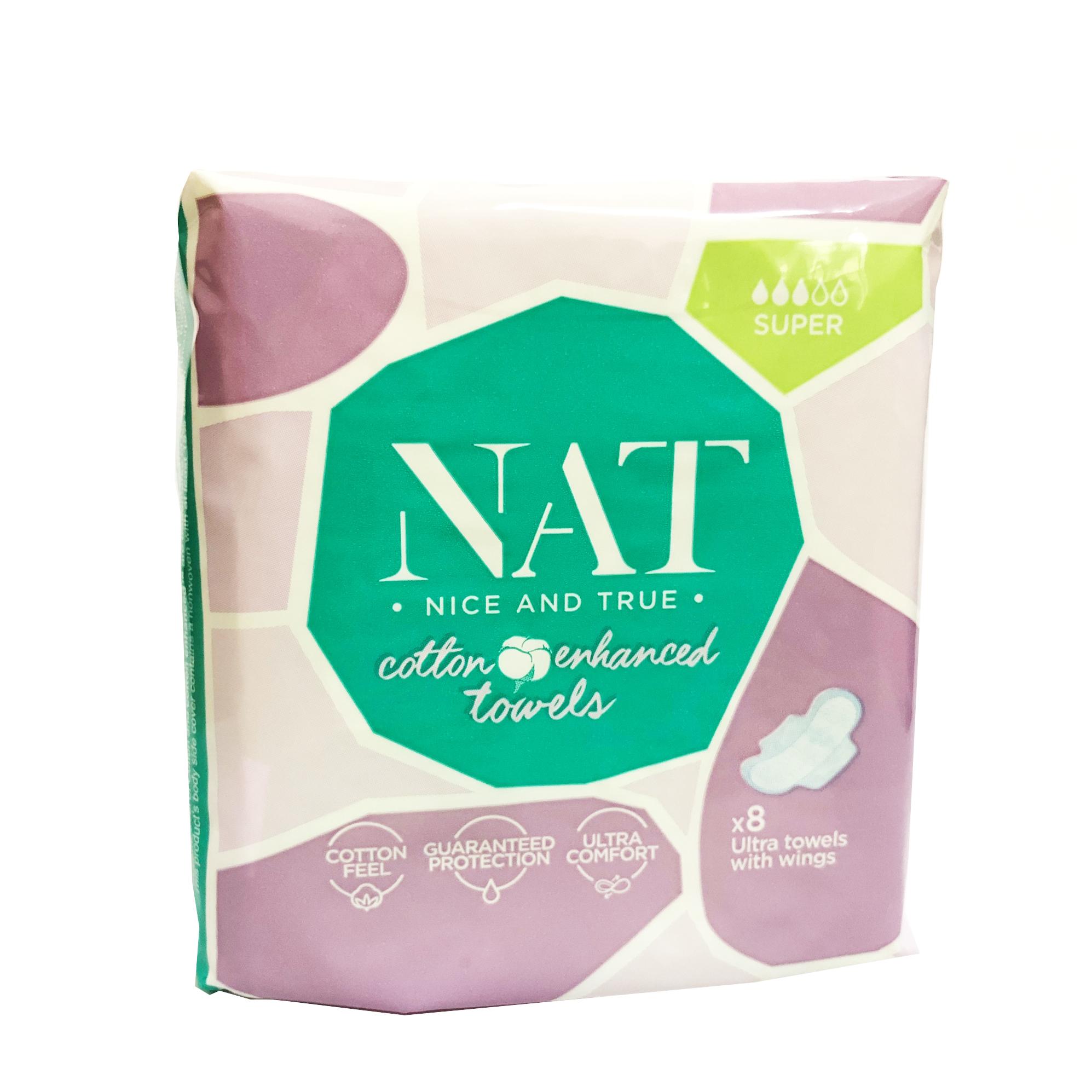 Băng vệ sinh NAT  dành cho ngày nhiều và đêm 8 miếng / gói- 100% bông hữu cơ