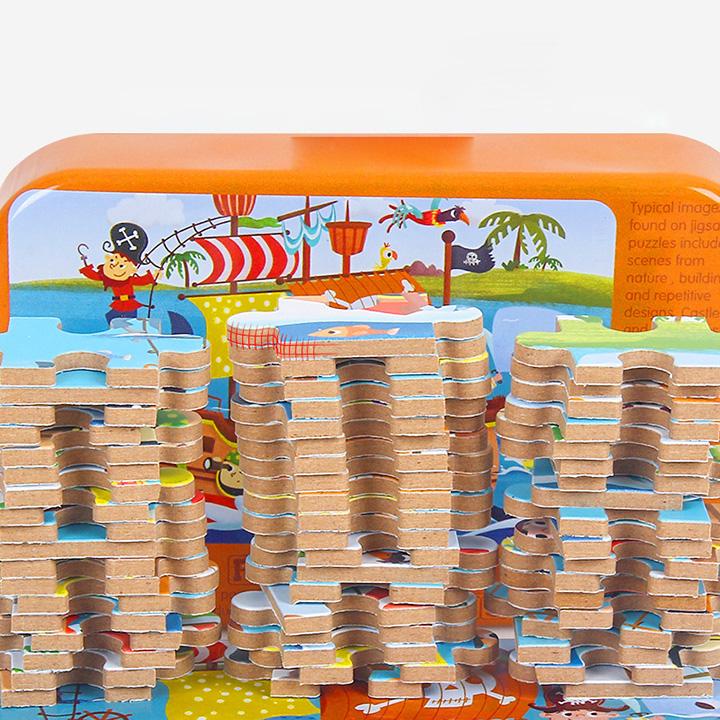 Tranh ghép hình 60 mảnh gỗ hộp thiếc - nhiều mẫu