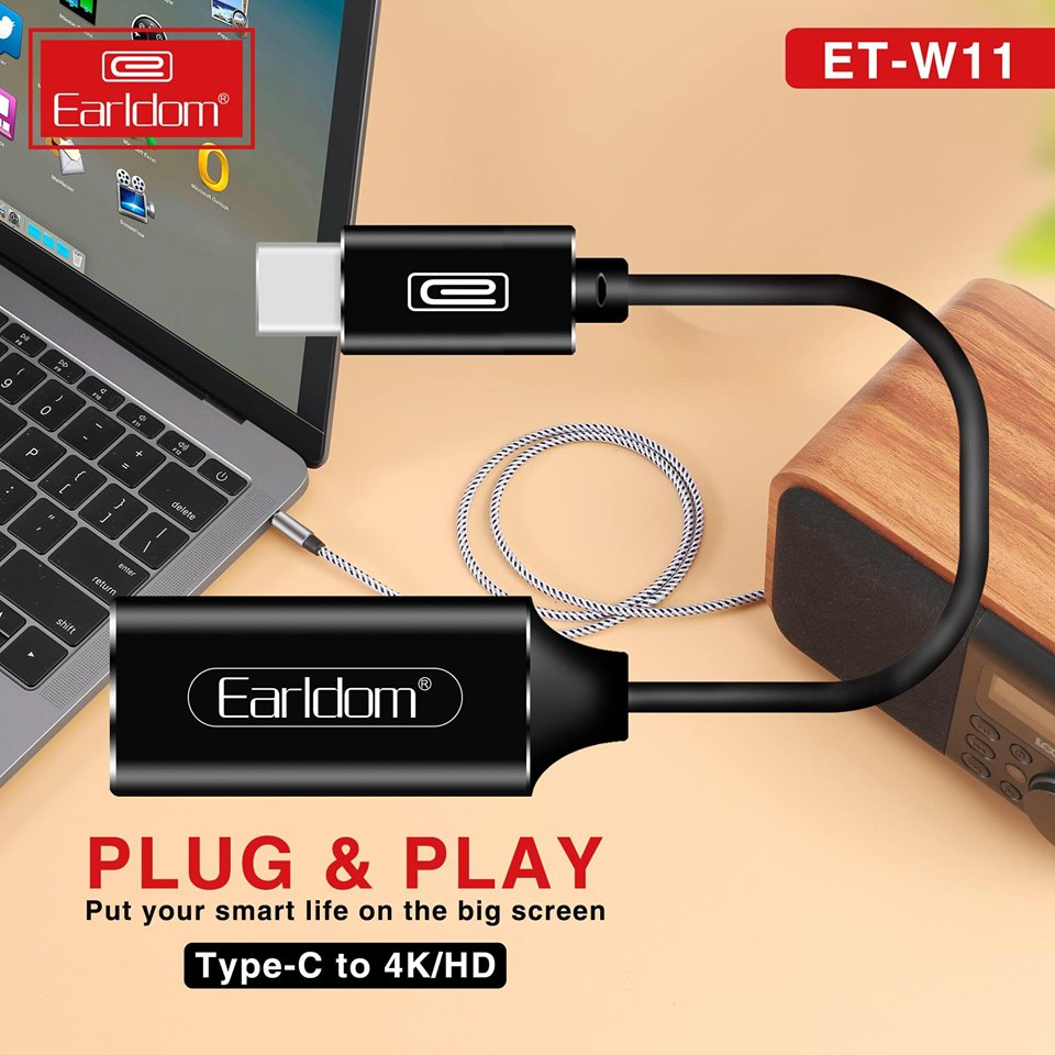 Cáp chuyển đổi USB Type-C to HDMI Earldom ET-W11 (Màu Ngẫu Nhiên) - Hàng Chính Hãng