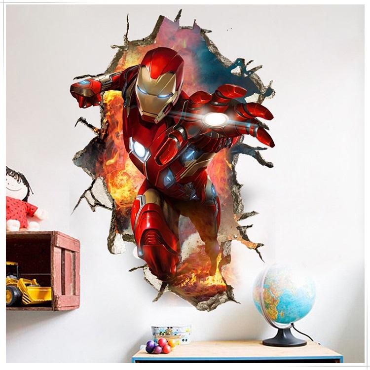 Decal dán tường 3D siêu anh hùng Người sắt size lớn - decal Iron man biệt đội báo thù (60 x 90 cm)