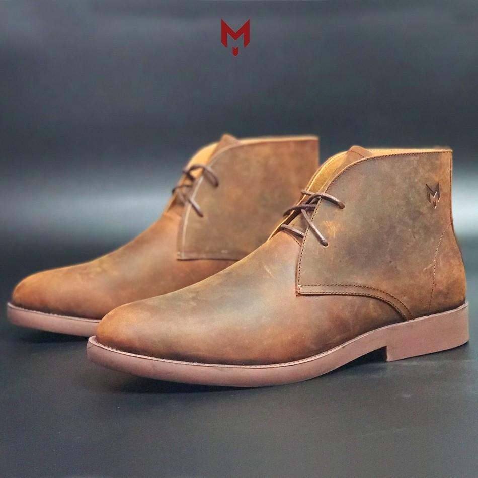 Giày cao cổ nam da bò sáp ngựa điên phong cách bụi bặm