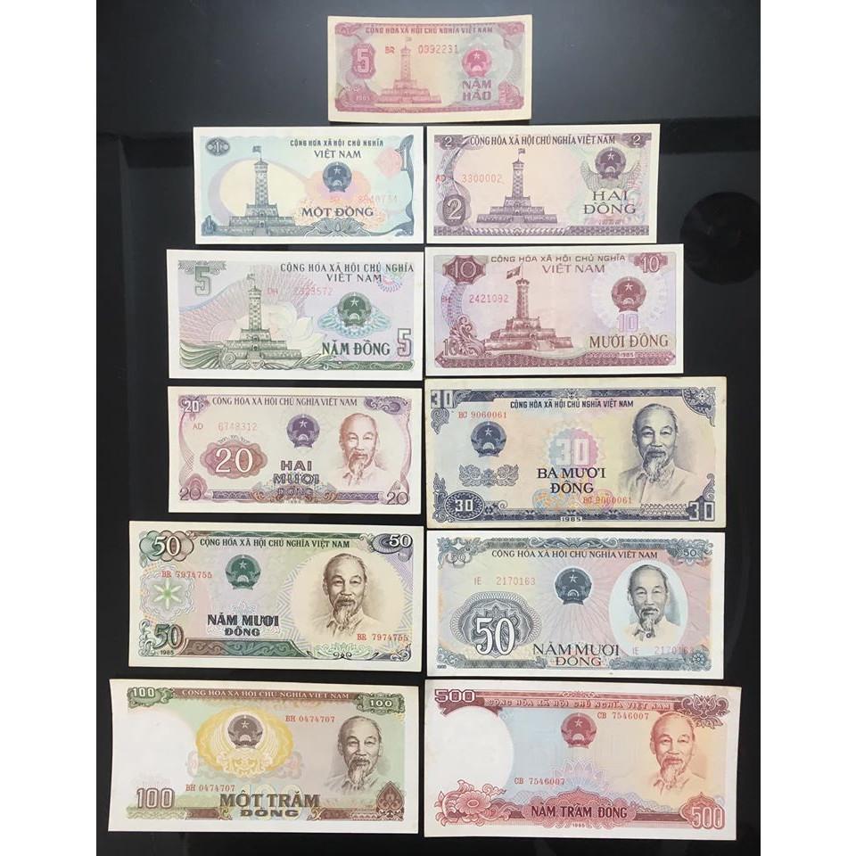 Bộ tiền xưa Việt Nam 1985 gồm 11 tờ 5 xu 1 2 5 10 20 30 50 50 100 500 đồng, chất lượng ĐẸP như hình - tặng bao lì xì