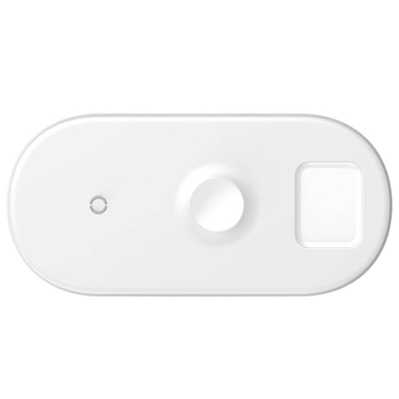 Đế sạc không dây Baseus sạc 3 thiết bị  điện thoại  Apple Watch  Airpods cùng lúc hỗ trợ công suất 18w - Hàng chính hãng - TRẮNG