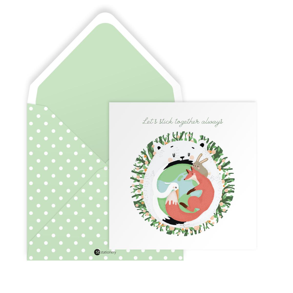 Thiệp tình bạn LET'S STICK TOGETHER ALWAYS vuông 12cm SDstationery LIVE GREEN gấu, chim, cáo, thỏ, cây cối
