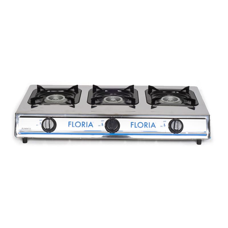 Bếp Gas Inox 3 bếp Floria  - ZLN8472 - Hàng chính hãng - Nhập khẩu Thổ Nhĩ Kỳ