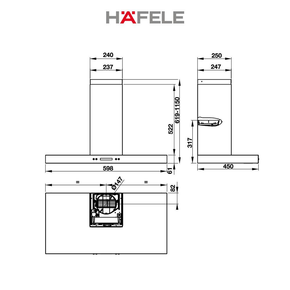 Máy Hút Mùi Gắn Tường Hafele HH-WI60B HH-WI60B (60cm) - 539.81.173 Xuất Xứ Châu Âu Kèm Than Hoạt Tính (Hàng chính hãng)