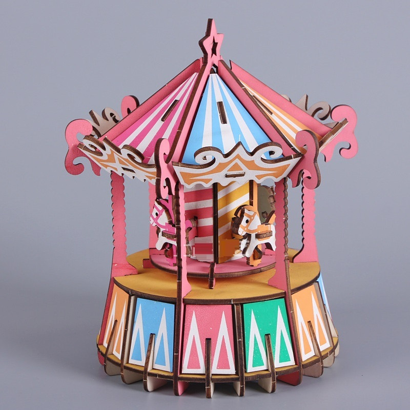 Đồ chơi lắp ráp gỗ 3D Mô hình Vòng Quay Ngựa gỗ Laser