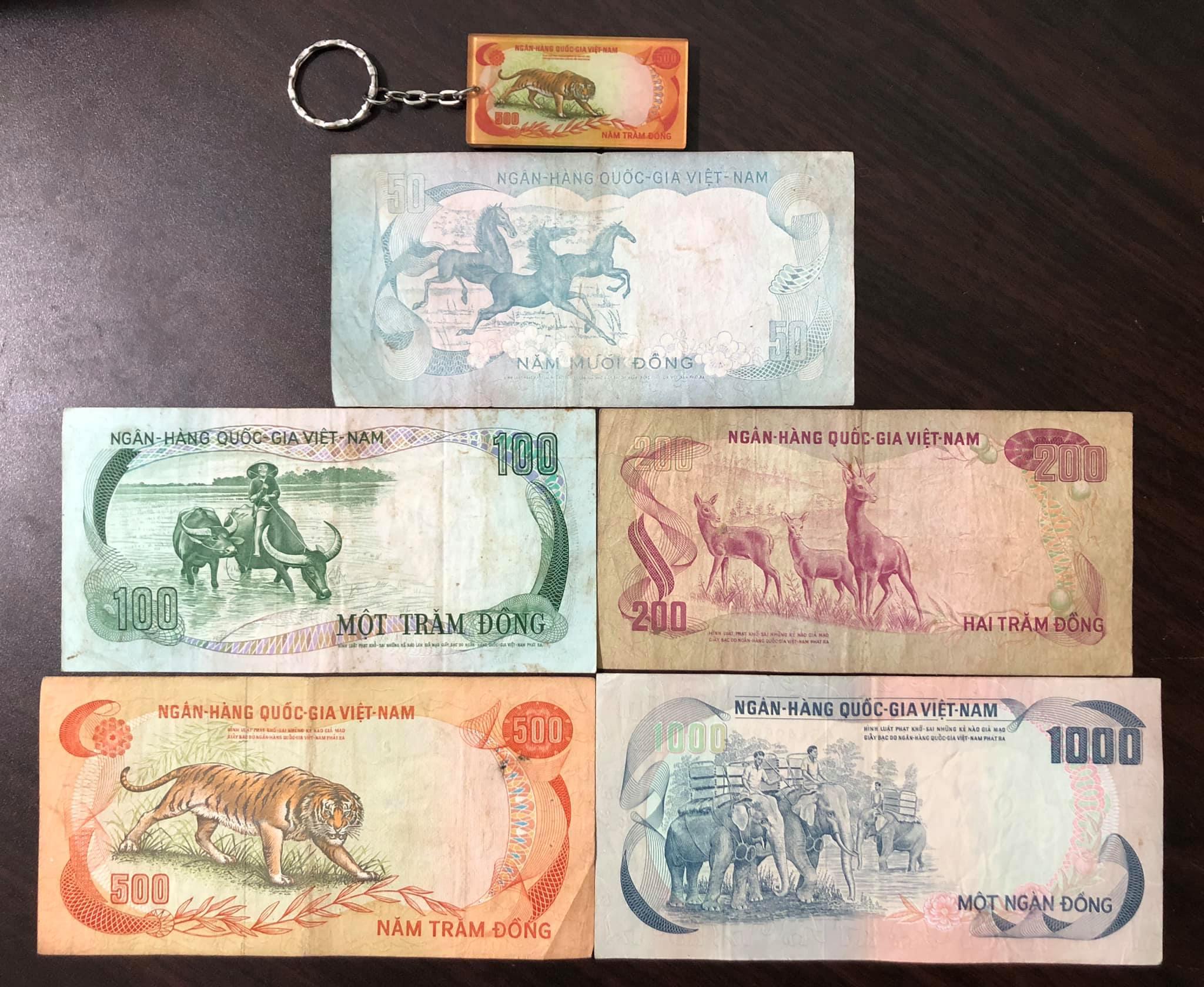 Tiền cổ Việt Nam, đủ bộ 5 tờ con thú (tặng kèm móc chìa khóa tiền cổ)