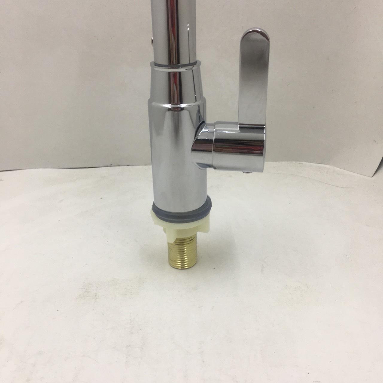 Vòi rửa chén bát lạnh đồng mạ Chrome cao cấp - Vòi rửa bát kèm dây cấp