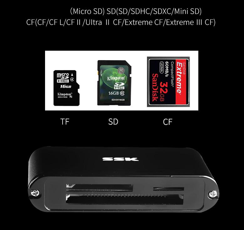 Đầu đọc thẻ nhớ đa năng tốc độ cao USB 3.0 SSK SCRM630 - Hàng Chính Hãng