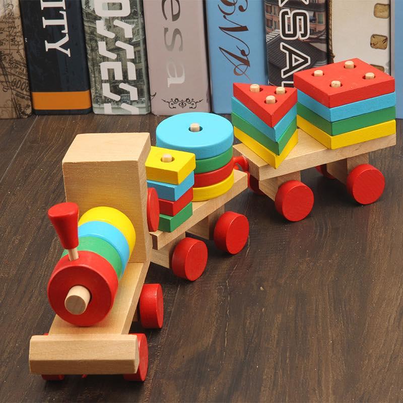 Đồ chơi đoàn tàu hình học bằng gỗ Mykids - đồ chơi trí tuệ ( loại lớn )