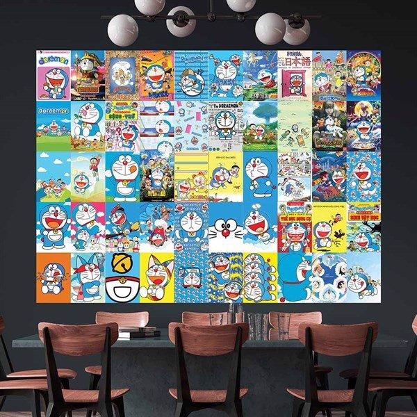 DORAEMON - Set 50 tấm 22x30cm decal dán tường trang trí decor quán nhà cửa chủ đề Hoạt hình Doraemon