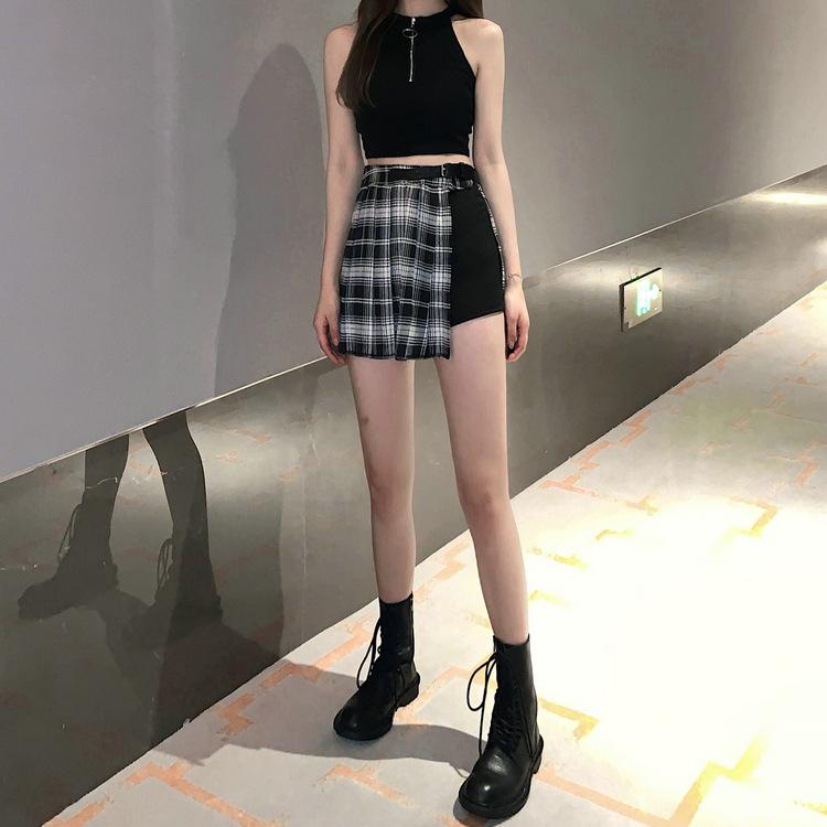 Chân váy xếp li xẻ phối quần 3 cúc kèm belt phong cách Blackpink lisa thời trang hàn quốc