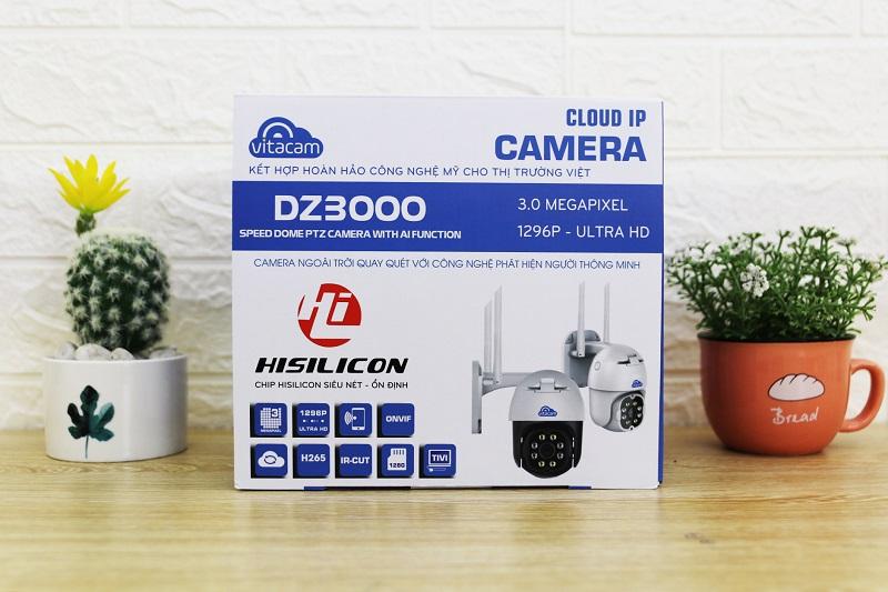 Camera 3MP Wifi IP Ngoài Trời Vitacam DZ3000 PTZ thẻ lưu trữ 32G  xoay 355 độ, 3.0 Mpx 1296P hình ảnh ULTRA HD siêu nét-Hàng Chính Hãng
