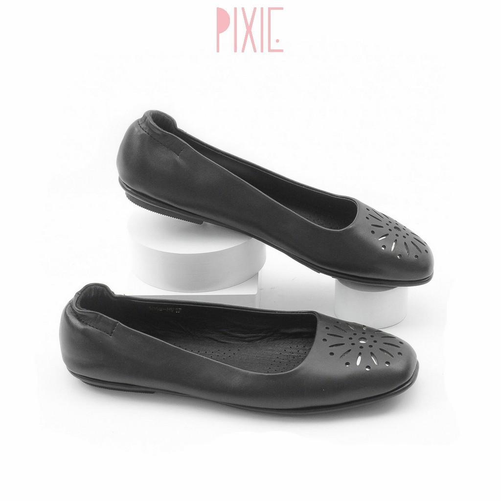 Giày Búp Bê Mũi Vuông Đế Âm Da Mềm Cắt Hoa Trang Trí Màu Vàng Pixie P526