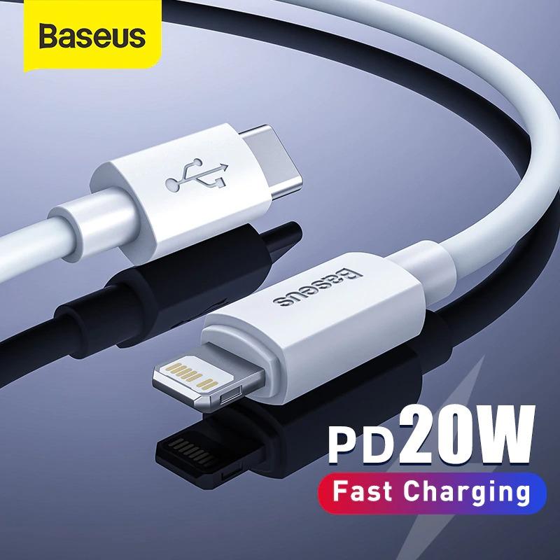 Hộp 2 cáp sạc nhanh và truyền dữ liệu Type C to Lightning Baseus Simple Wisdom Data Cable Kit (PD 20W, 1,5m, 2pcs) - Hàng chính hãng