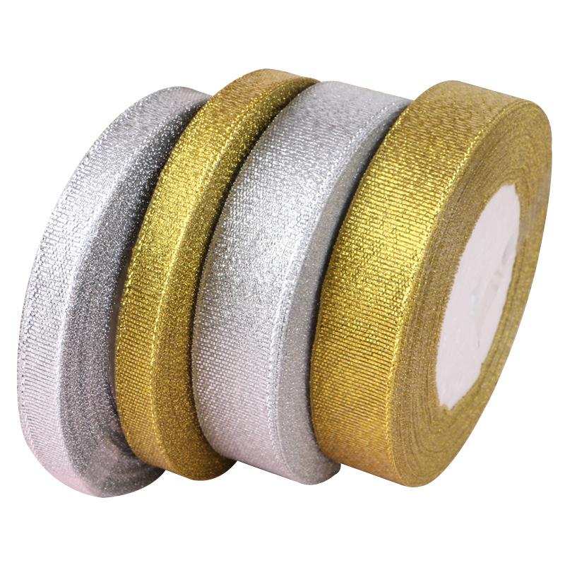 COMBO 2 Cuộn Ruy Băng Kim Tuyến/ Duy Băng Nhũ Bạc + Vàng (Bản 2cm) (Cuộn 22m/cuộn)