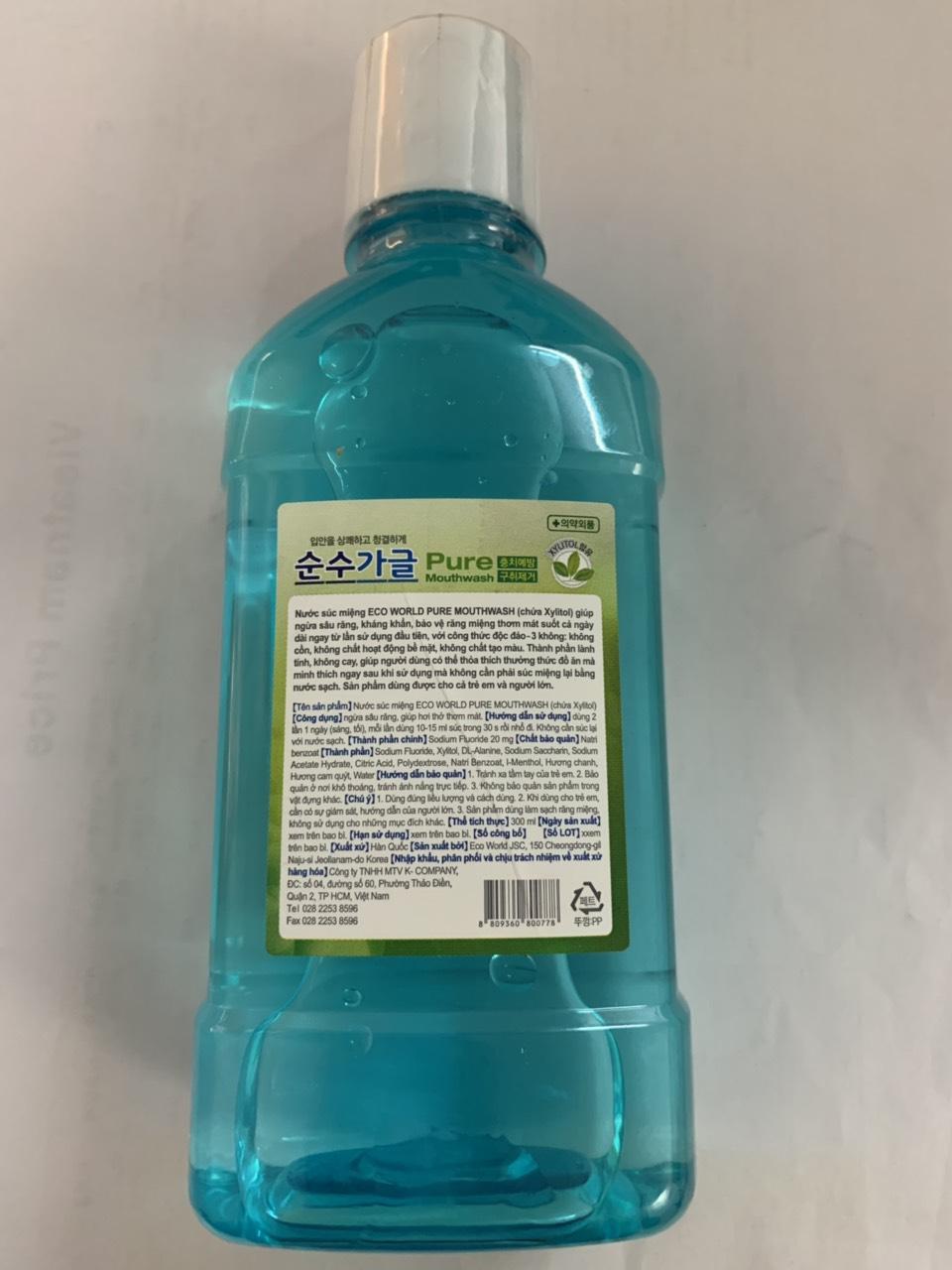 Nước súc miệng nhập khẩu Hàn Quốc - Chai 300ml hương chanh, không cay dùng được cho người lớn và trẻ em