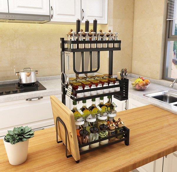 Kệ nhà bếp ba tầng bằng thép đa năng