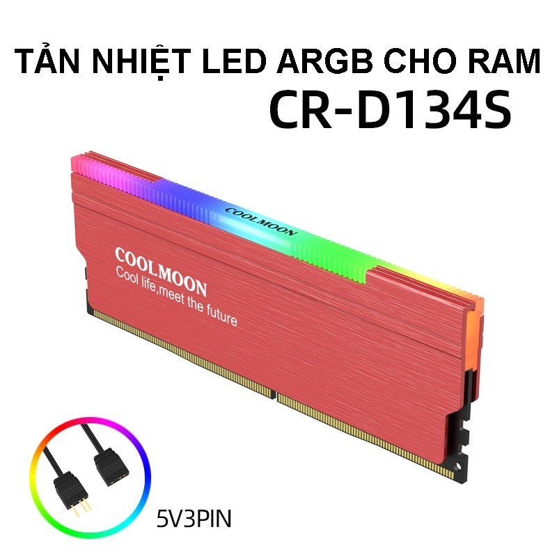 Tản Nhiệt Led ARGB cho RAM máy tính - Coolmoon D134S Red - hàng nhập khẩu