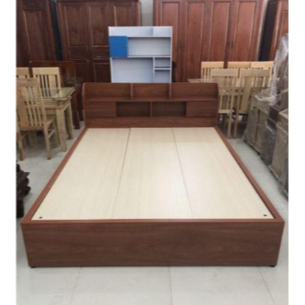 Giường Ngủ Hộp Gỗ MDF Melamine 1m6x2m Ngăn Kéo Xoan Đào