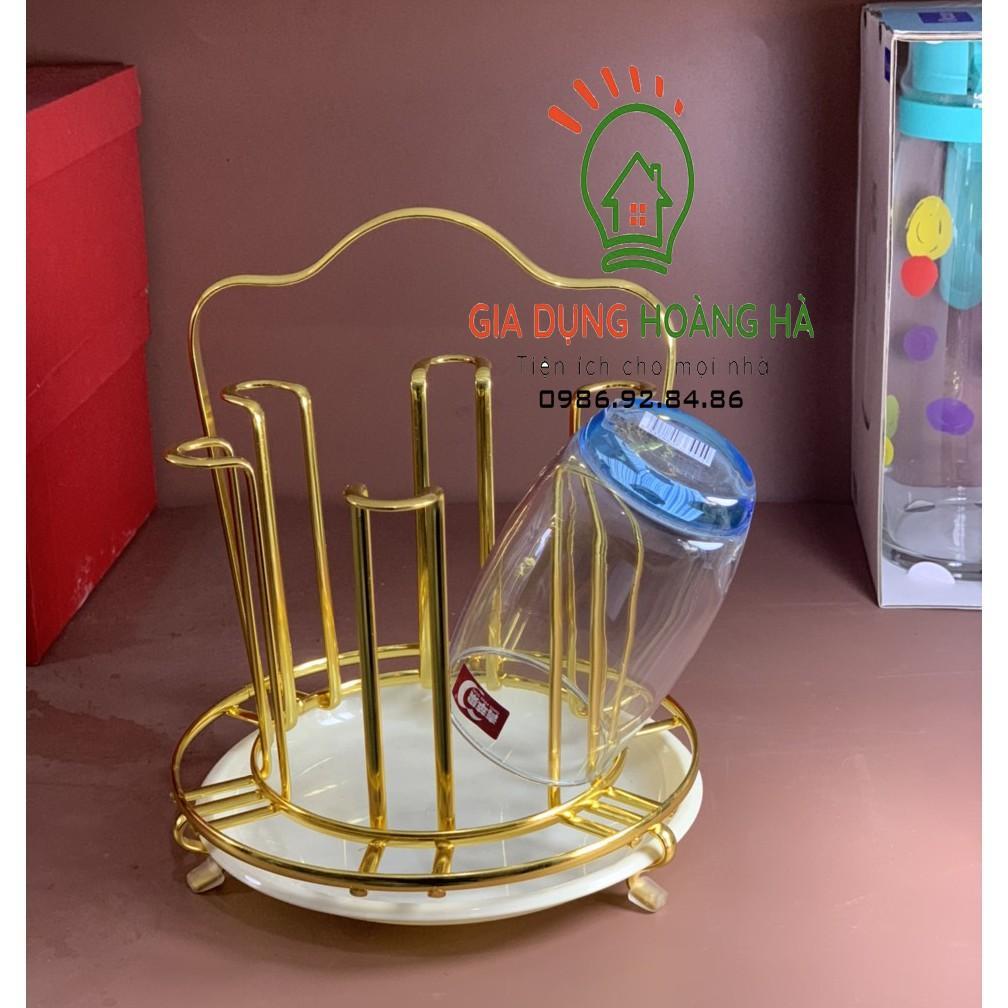 Khay úp cốc tròn mạ vàng CAO CẤP kiểu dáng sang trọng