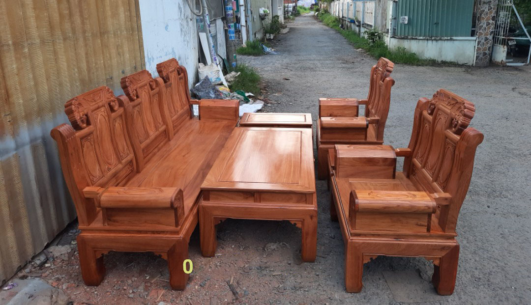 Bộ bàn ghế salon, soà phòng khách âu á gỗ gõ đỏ trương voi