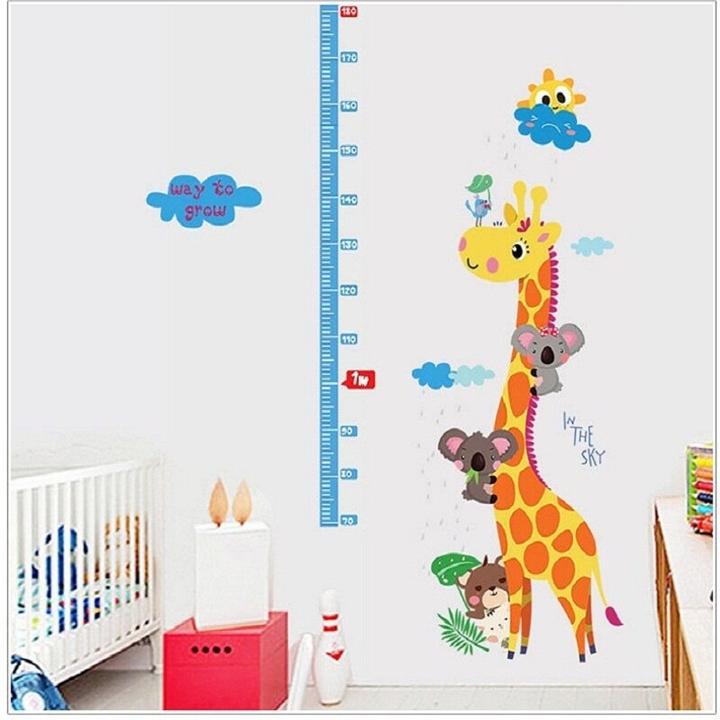 Decal dán tường Thước đo chiều cao hươu cao cổ và đàn dơi SK9002