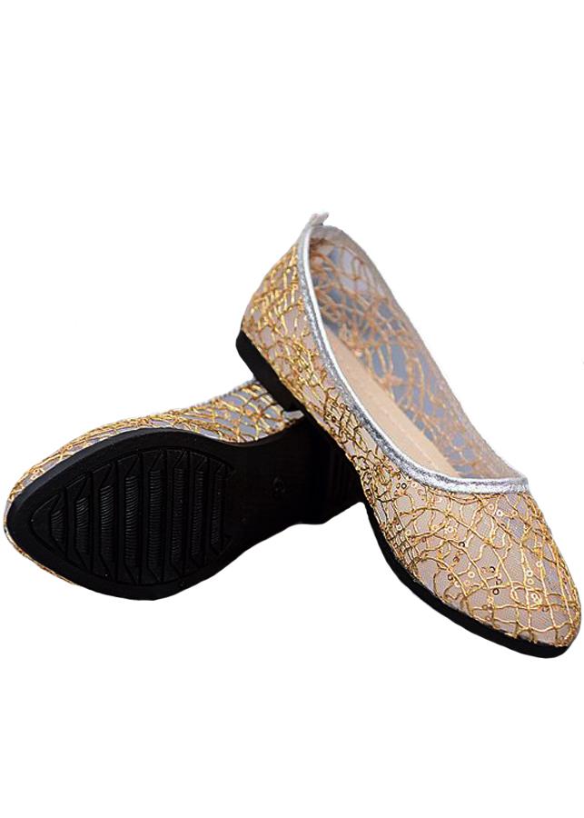 Giày búp bê lưới cao su thoáng mát siêu bền-305 Vàng