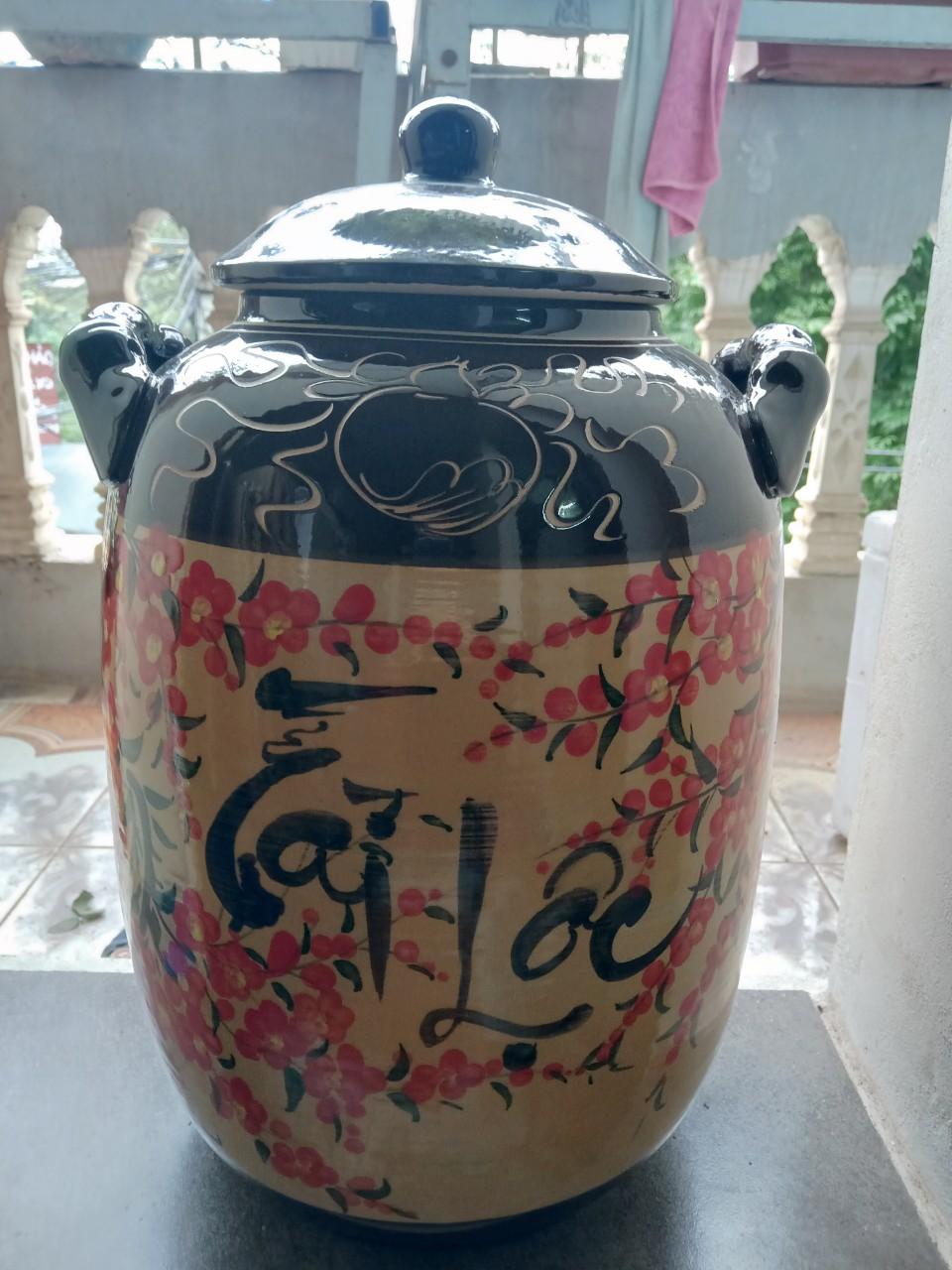 Hũ đựng rượu, gạo gốm sứ Bát Tràng loại 30L (25 kg gạo)