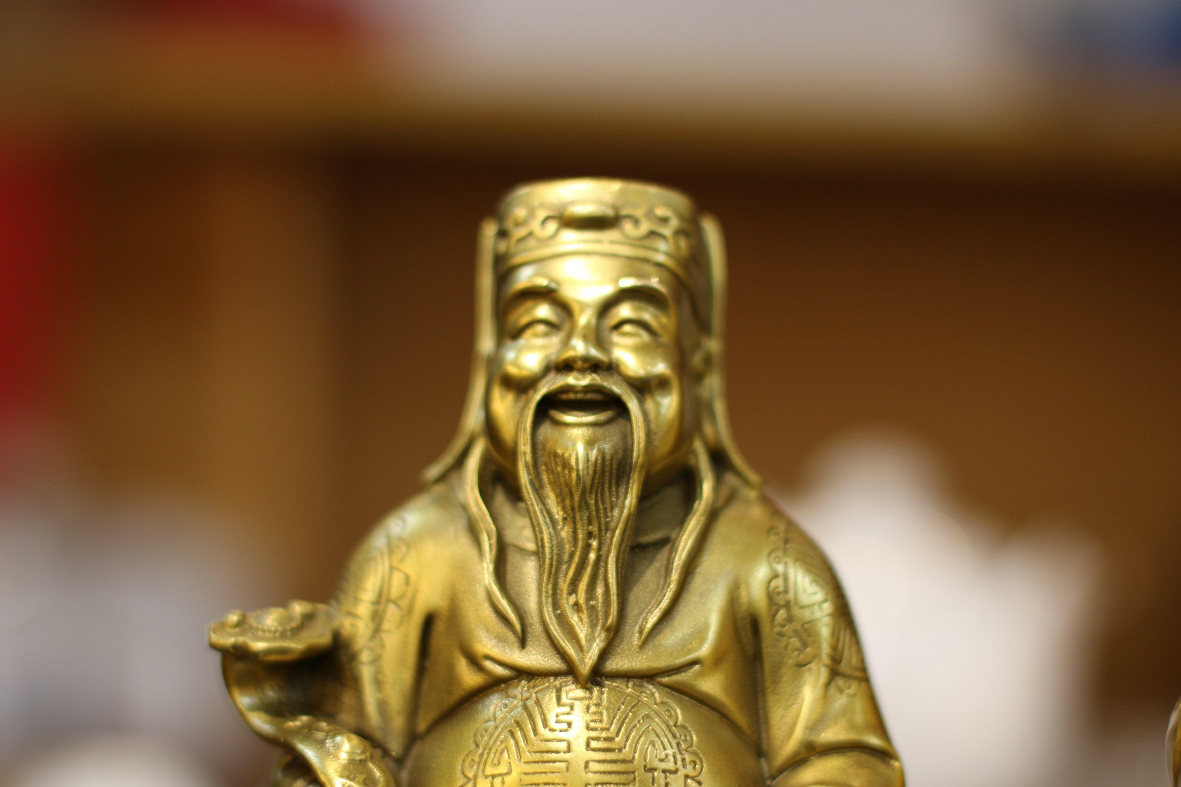 Tượng Thần Tài Thổ Địa Cao 20cm Phong Thủy Bằng Đồng Lê Gia