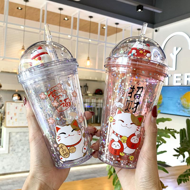 Ly Đựng Nước, Cốc Đựng Nước, Ly Nhựa Kèm Ống Hút Tiện Lợi 2 Lớp Hình Mèo Neko Phong Cách Hàn Quốc  Siêu Đáng Yêu 450ml
