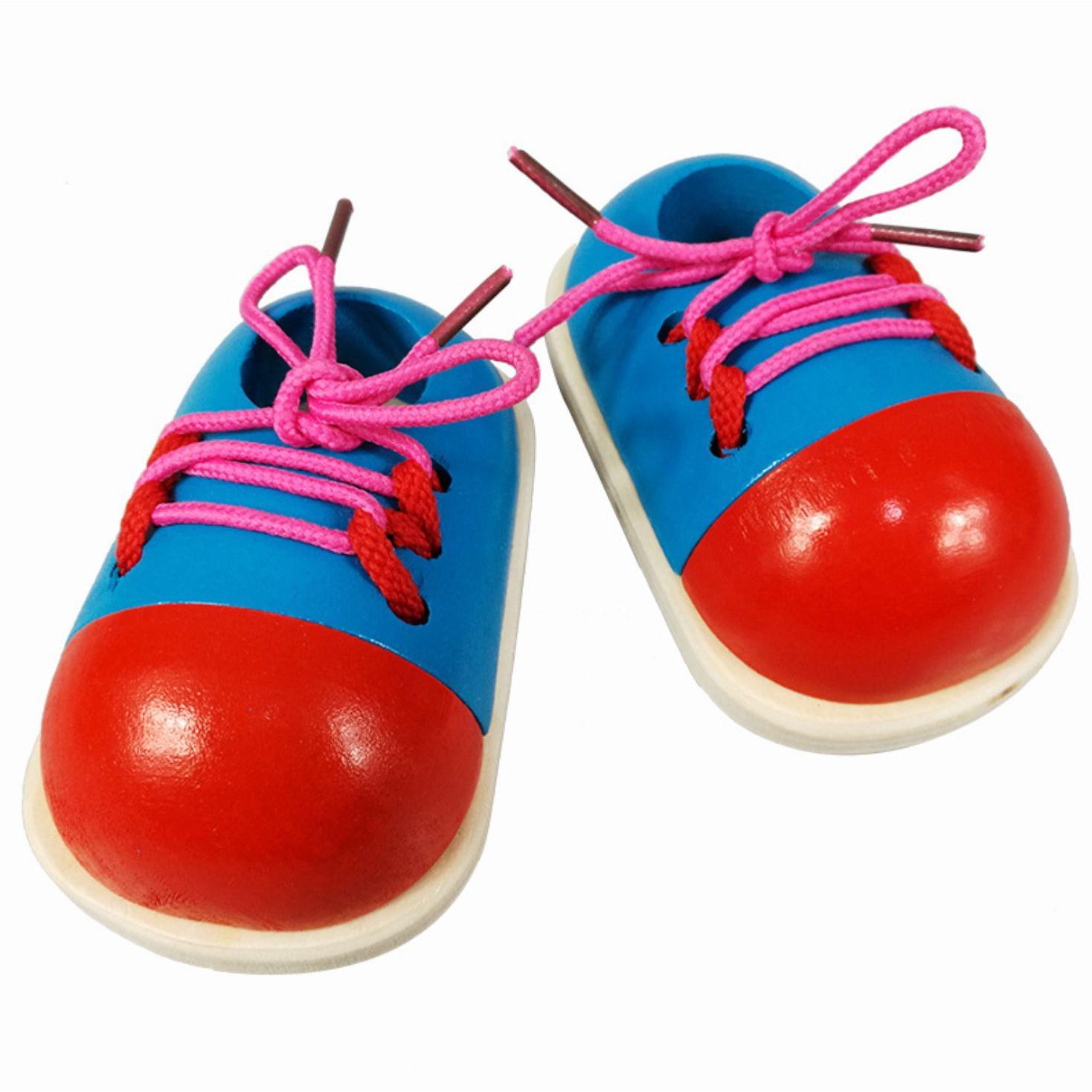 Đồ chơi giày gỗ giúp trẻ em học kỹ năng buộc dây giày thực tế