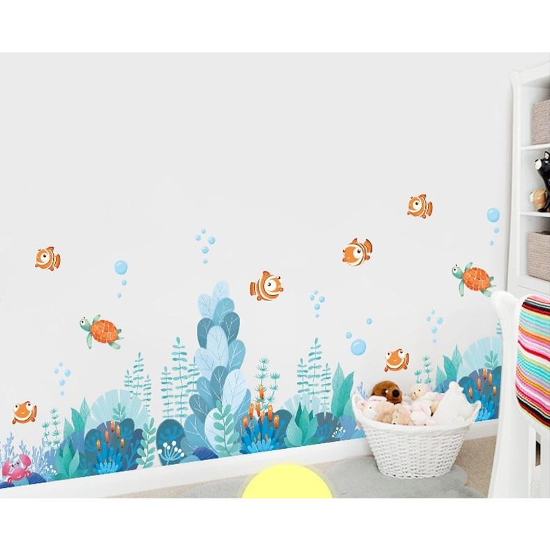 Decal dán tường trang trí nhà tắm-Đại dương xanh