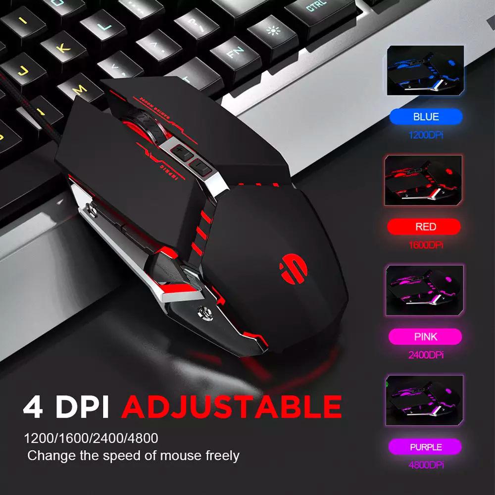 Chuột chơi Game Inphic PW2 có dây USB LED nên RGB 4800 DPI dùng cho máy tính laptop - Hàng chính hãng