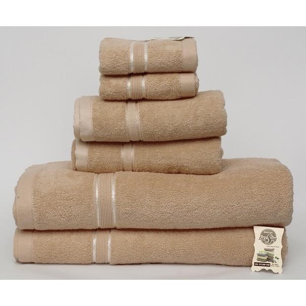Bộ 6 Khăn Tắm gia đình cao cấp dệt 100% cotton gồm khăn tắm, khăn lau đầu, khăn mặt