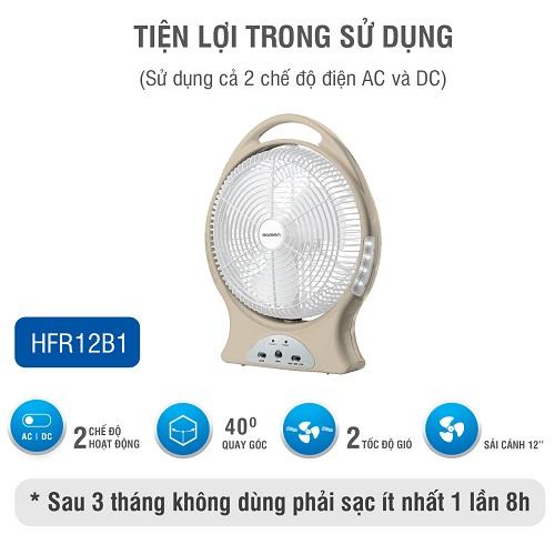 Quạt sạc tích điện chính hãng Roman tích hợp đèn LED - Sử dụng hai chế độ sạc tiện dụng - Quạt có thể  quay góc 40 độ HFR12B1