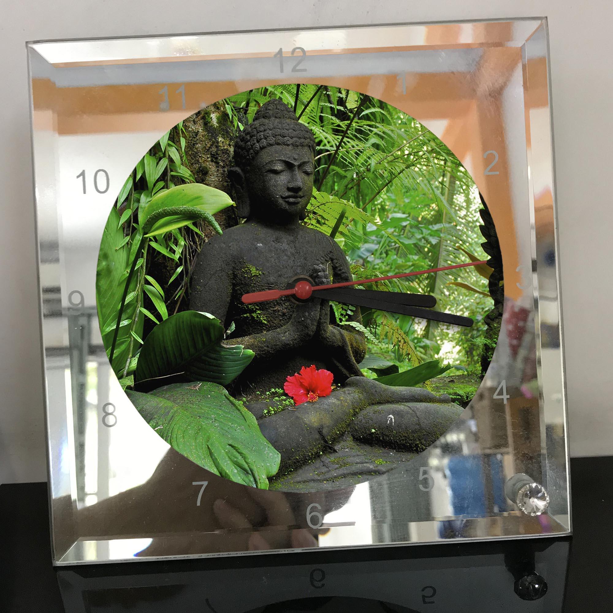 Đồng hồ thủy tinh vuông 20x20 in hình Buddhism - đạo phật (57) . Đồng hồ thủy tinh để bàn trang trí đẹp chủ đề tôn giáo