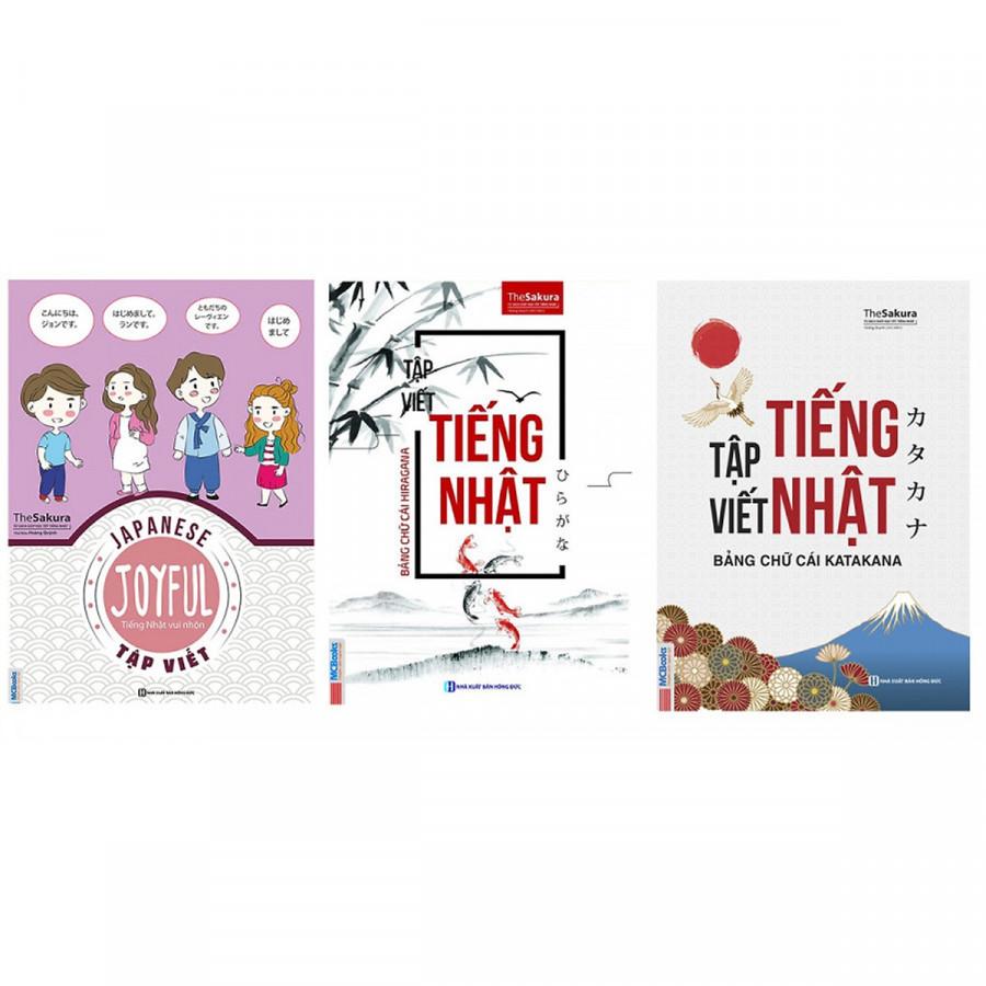 Combo 3 Cuốn Sách Tập Viết Tiếng Nhật : Hiragana, Katakana, Joyful Japanese - (Tặng Kèm Bookmark Thiết Kế)