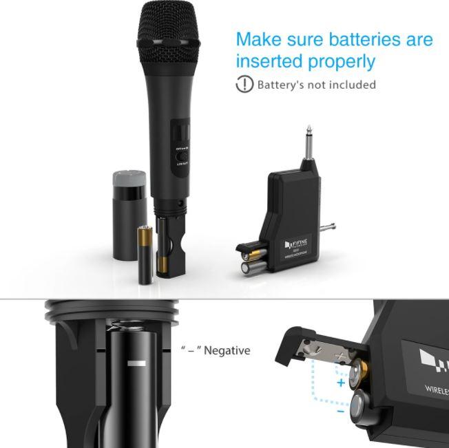 Micro không dây UHF hàng chính hãng FIFINE K025, hoạt động bằng Pin dùng cho loa kéo hát Karaoke (tần số 565-584MHz)