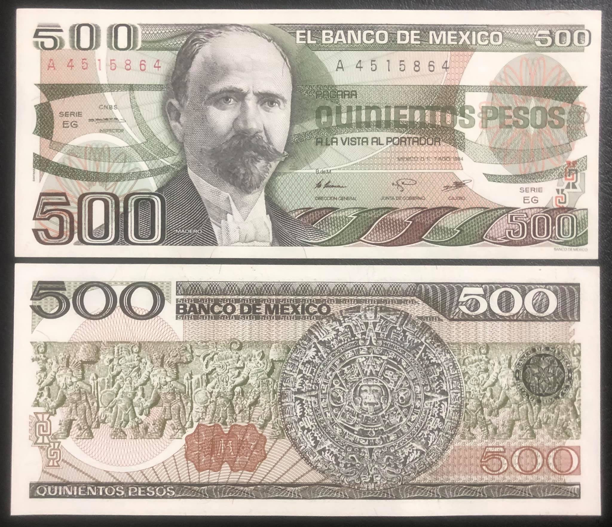 Tiền cổ Mexico 500 pesos sưu tầm