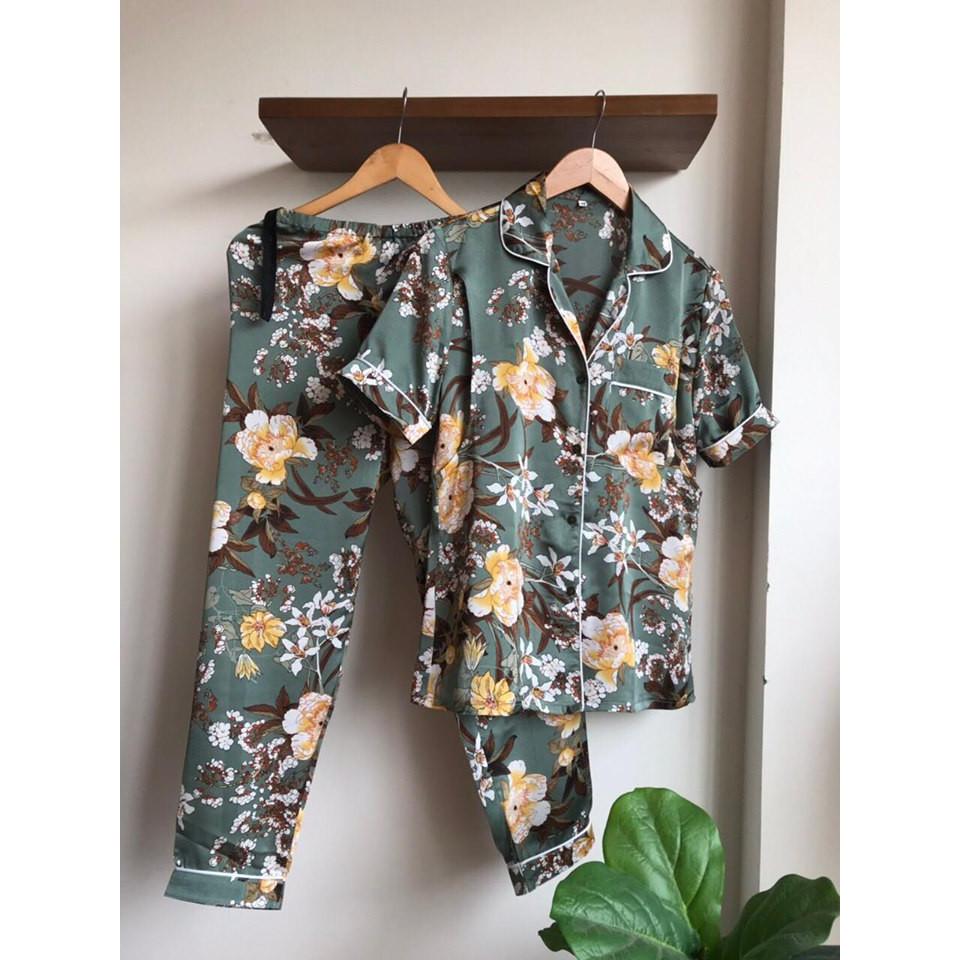 Bộ đồ bầu, sau sinh cho con bú, Pijama lụa áo cộc quần dài
