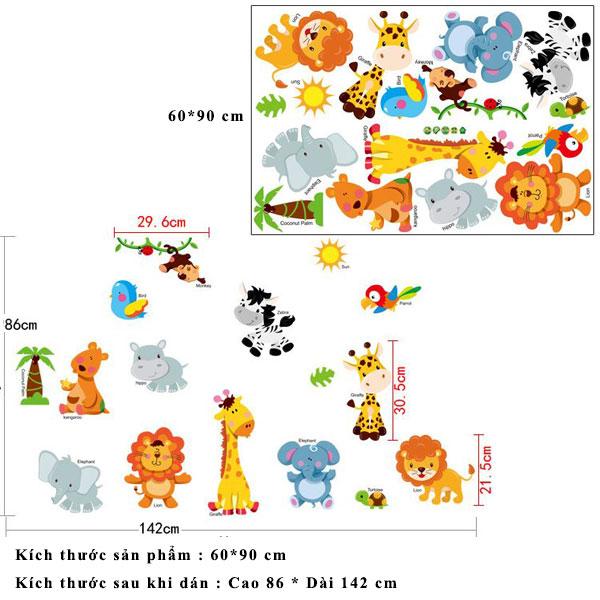 Decal dán tường động vật hoạt hình ZOOYOO SK9267